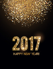 2017 New Year card with glittering background and gold dust