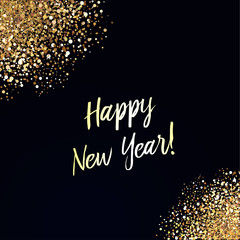 Happy New Year card with glittering background and gold dust