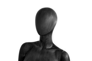 Black mannequin buste white background
