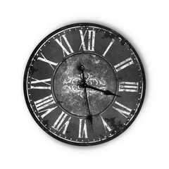 Isolated Vintage Old Dark Black Clock