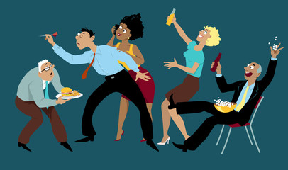 Diverse group of friends drinking and playing darts after work in a bar, EPS 8 vector illustration, no transparencies