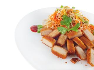 vegan asian fried noodles with tofu