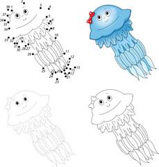 Cartoon jellyfish. Dot to dot game for kids