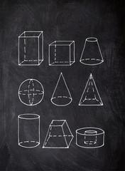 Digital 2d freehand sketch chalk drawing of solid figures on blackboard
