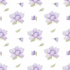 Seamless watercolor pattern with flowers.