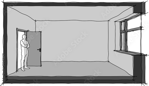 """""""hand drawn sketch of a single empty room with door and ..."""