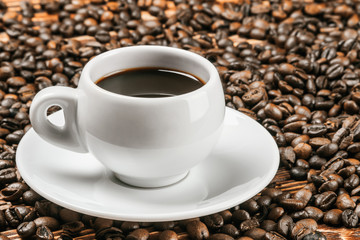 Roasted Coffee cup and  beans