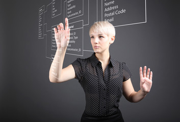 Business woman designs a new database
