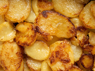 rustic golden german pan fried potato bratkartofflen food backgr