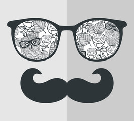 Cool hipster face print of man with sunglasses.