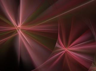 Abstract fractal computer-generated image red and green laser beams
