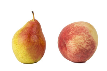 Peach and pear isolated on white