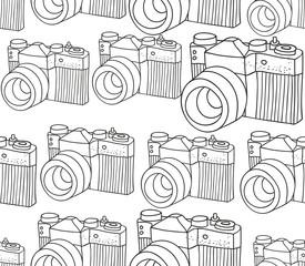 Seamless pattern with retro photo camera.