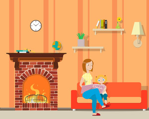Mother sitting on the couch reading a fairy tale little daughter in the room with fireplace. Vector illustration