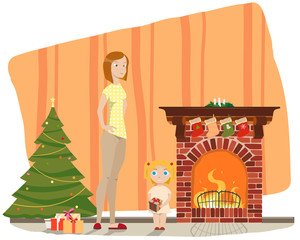 Mother and daughter standing in a room near the fireplace and take the boxes with gifts near a Christmas tree. Vector illustration