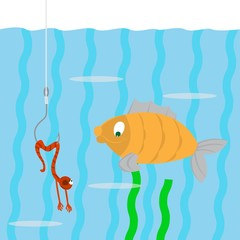 fish swims. looking at a worm on a hook. the worm pretends to be dead. vector illustration of cartoon
