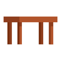 Wooden table flat vector isolated.