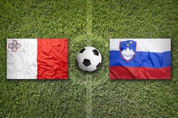 Malta vs. Slovenia flags on soccer field