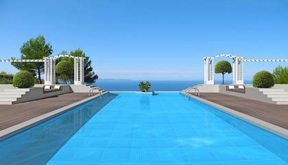 Großer swimming pool mit Pergola und Blick auf das Meer