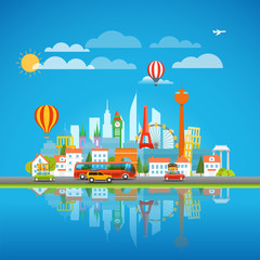 Vacation travelling concept. Around the world vector illustratio
