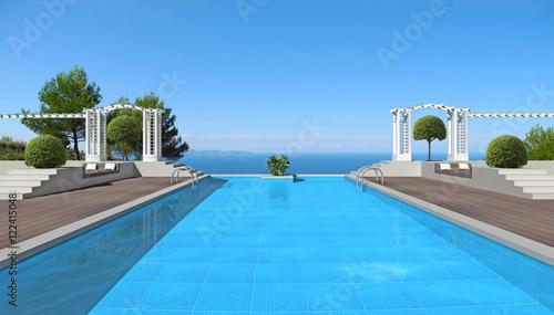 gro er swimming pool mit pergola und blick auf das meer stockfotos und lizenzfreie bilder auf. Black Bedroom Furniture Sets. Home Design Ideas