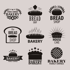 Set of bakery and bread shop logos, labels, badges and design elements.
