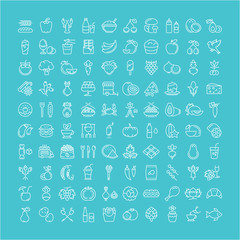 Set Line Icons Food