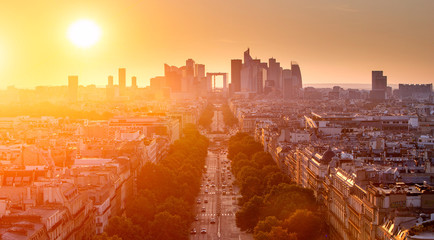 La defense district business in Paris at sunset, view from arc d