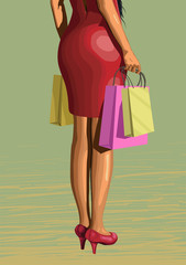 Beautiful girl lady legs woman in red dress from shopping with p