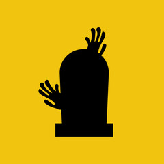 Headstone and zombie hands silhouette