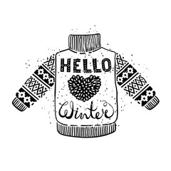 Hello winter text and knitted wool sweater with a heart. Seasonal shopping concept design for the banner or label.