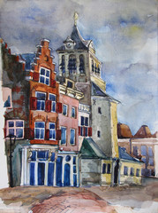 Watercolor view of Delft, the Netherlands. Historic town center, City Hall on the Markt and other historic buildings. Hand painted, original art. Postcard print.