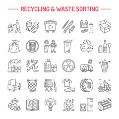 Modern vector line icon of waste sorting, recycling. Garbage collection. Recyclable waste - paper, glass, plastic, metal. Linear pictogram with editable stroke for brochure of waste management