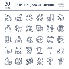 Modern vector line icon of waste sorting, recycling. Garbage collection. Recyclable waste - paper, glass, plastic, metal. Linear pictogram with editable stroke for poster, brochure of waste types.