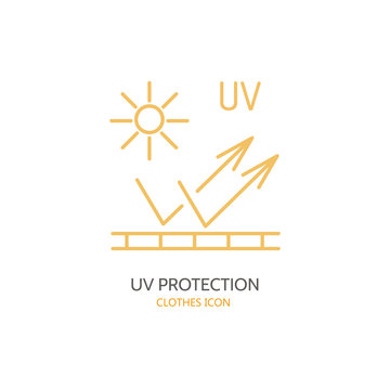 UV protection, sun resistant vector line icon. Fabric feature, garments property. Ultraviolet light protection sign. Linear wear label, textile industry pictogram for clothes. UV protected material.