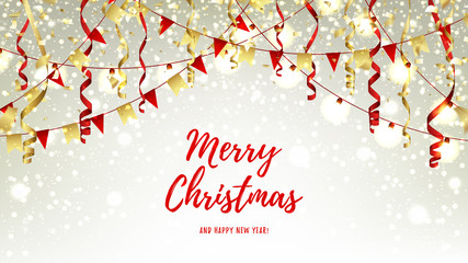 Christmas web banner with garlands and serpentine. Red and gold vector illustration with shining sparks for xmas design. Happy New Year background with snow and lights.