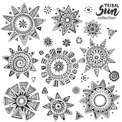 Vector collection of graphic doodle suns