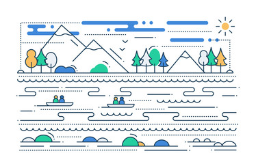 Water Tourism - line flat design illustration