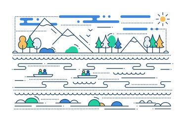 Water Tourism - line flat design illustration