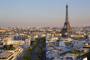 Eiffel tower view from the arc de triomphe in Paris, France