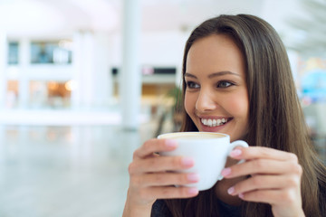 woman drinking coffee in the morning