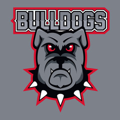 Modern professional logo for sport team. Bulldog mascot. Bulldogs, vector symbol on a dark background.