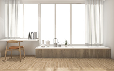 3d rendering white wall and wood floor with minimal decoration