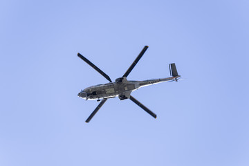 Helicopter from under view.