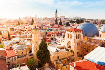 Old City of Jerusalem with the aerial view. View of the Church of the Holy Sepulchre, Israel. Fototapete