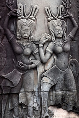 Bas-relief with Apsaras in Angkor Wat, Cambodia