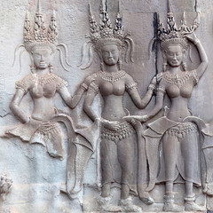 Ancient bas-relief in Angkor Wat, Cambodia