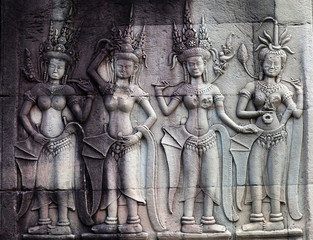 Bas-relief in Angkor Wat, Cambodia