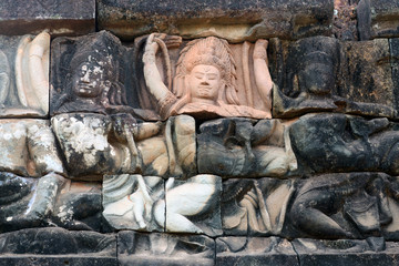 Ancient bas-relief at the Terrace of the Elephants in Angkor Thom, Cambodia