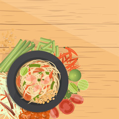 Som Tum ,Thai Green papaya salad , with ingredients